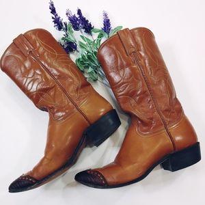 JUSTIN WESTERN Boots Vintage Wingtip Rockabilly 6B